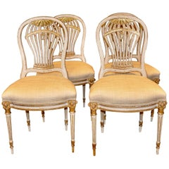 Set of Four Louis XVI Style Painted Chairs, Balloon Montgolfier