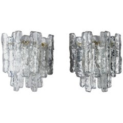 Pair of Midcentury Kalmar of Austria, Ice Glass Sconces