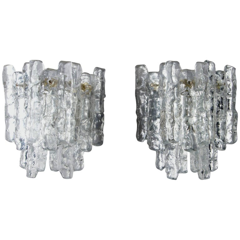 Pair of Midcentury Kalmar of Austria, Ice Glass Sconces