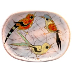 Midcentury Vallauris Platter with Birds