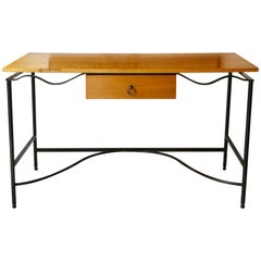 Oak Desk with a Wrought Iron Base
