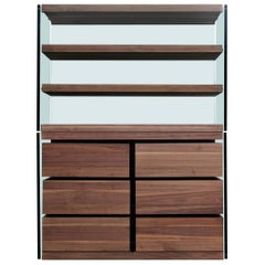 Contemporary Armoire with Italian Steel Frame, Black Walnut and Glass Accents