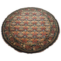 Round Green William Morris Inspired Rug