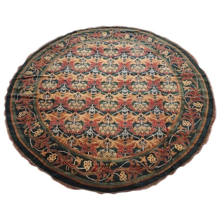 Round Green William Morris Inspired Rug For Sale At 1stdibs