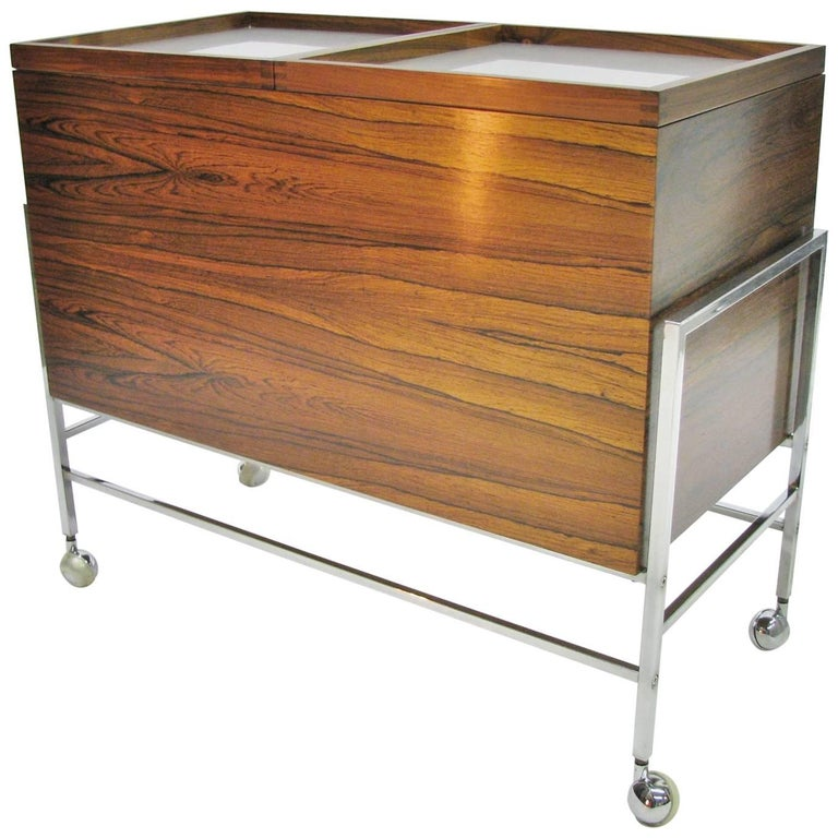 Vintage Danish Modern Midcentury Style Rosewood Bar Cart, 1960s-1970s
