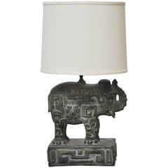 Bronzed Plaster Elephant Lamp