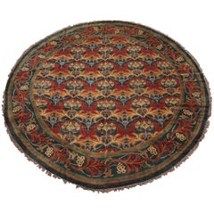 Round William Morris Inspired Rug