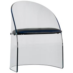 Vintage Curved Glass Chair in the Style of Pittsburgh Plate Glass Co.