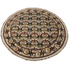 Round Ivory William Morris Style Rug