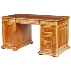 20th Century Scandinavian Fruitwood Pedestal Desk