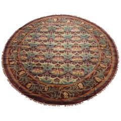 Round Burgundy William Morris Style Rug