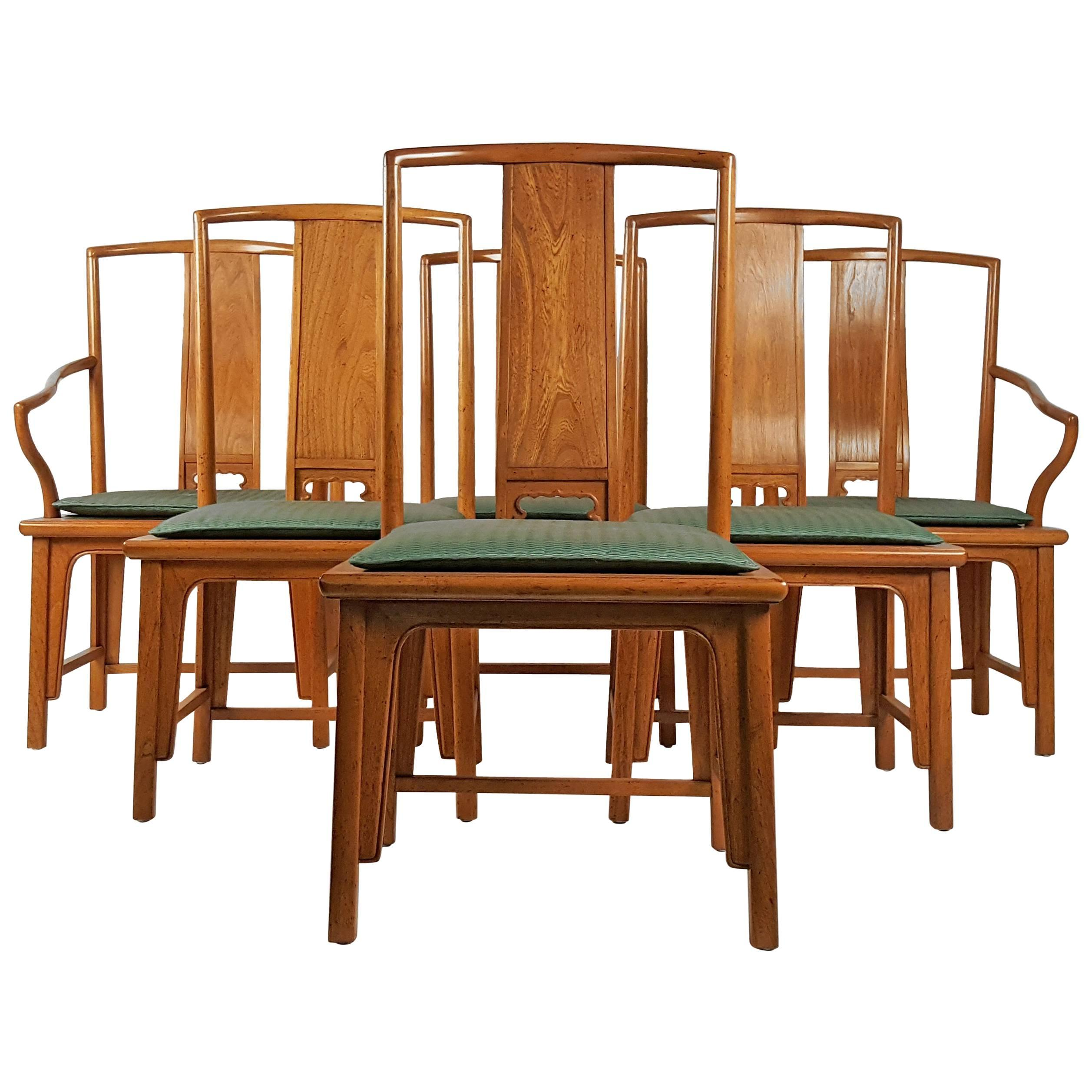 Set of Six Silver Label Baker Furniture Chinese Style Ming Dining Chairs