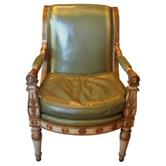 Antique Hollywood Regency Leather Armchair White Empire
