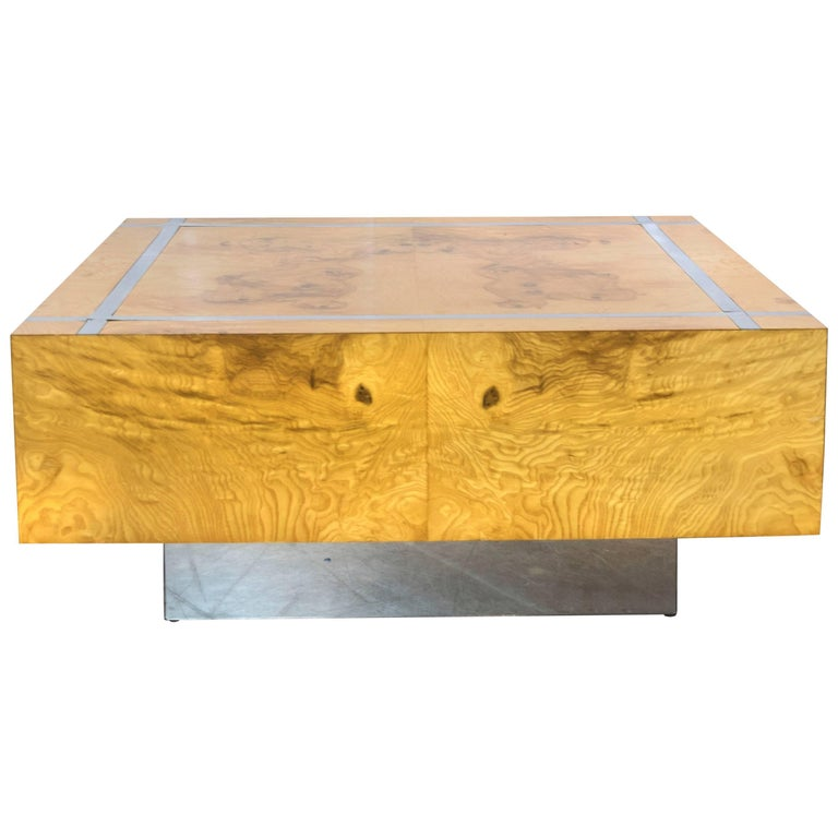 Milo Baughman Burl and Chrome Square Coffee Table