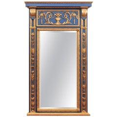 Louis XVI Style Blue Painted & Parcel Gilt Trumeau Mirror, Handmade Reproduction