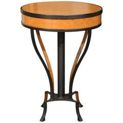 Austrian Biedermeier 1820s Guéridon Side Table with Burl Veneer and Iron Frame