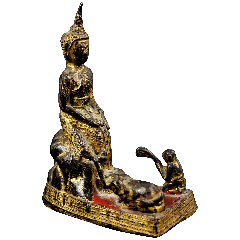 18th Century Thailand Siam Rattanakosin Bronze Lacquered and Gilded Buddha
