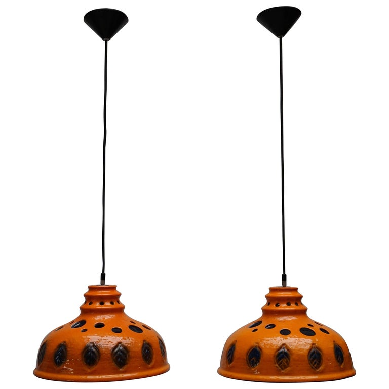 Two Ceramic Pendant Lights For Sale