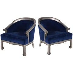 Pair of 1970s Chinoiserie Silver Barrel Back Armchairs