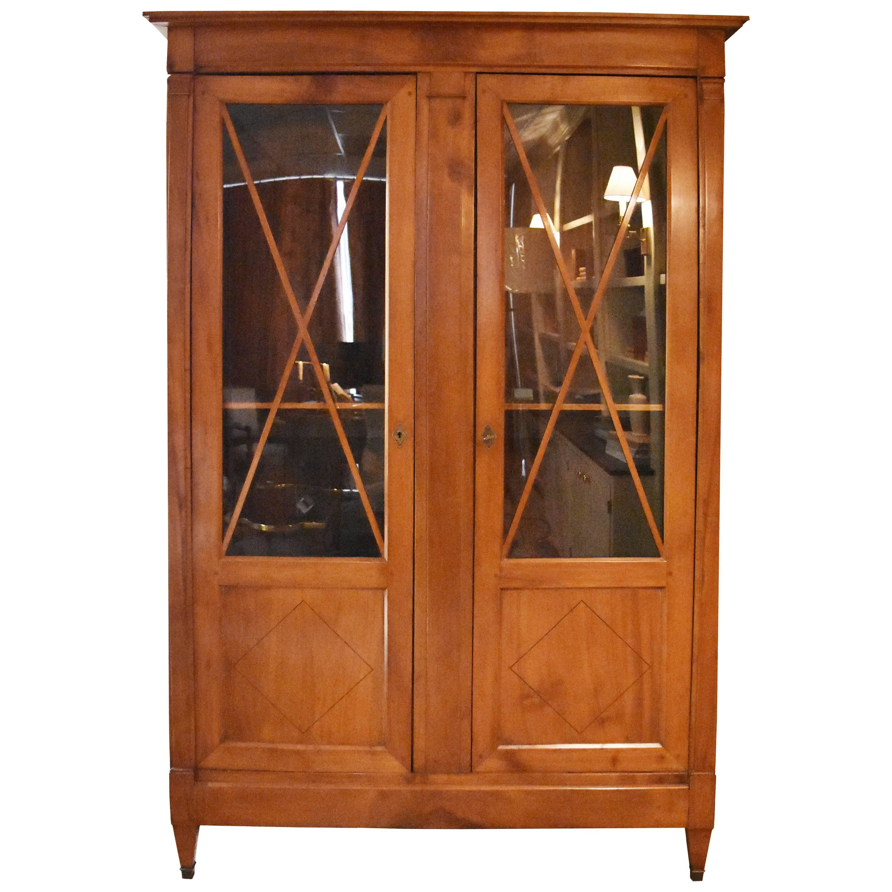 19th century directoire style blonde walnut or bookcase