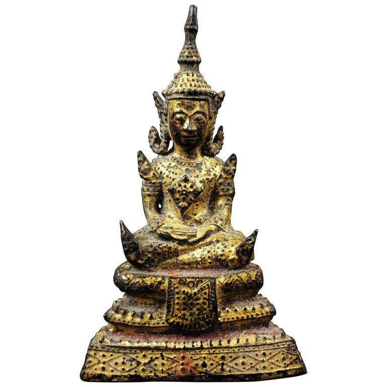 Thailand Siam 19th Century Rattanakosin Period Bouddha Guilt-Lacquered Bronze For Sale