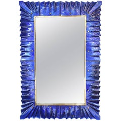 Rectangular Murano Cobalt Blue Glass Framed Mirror