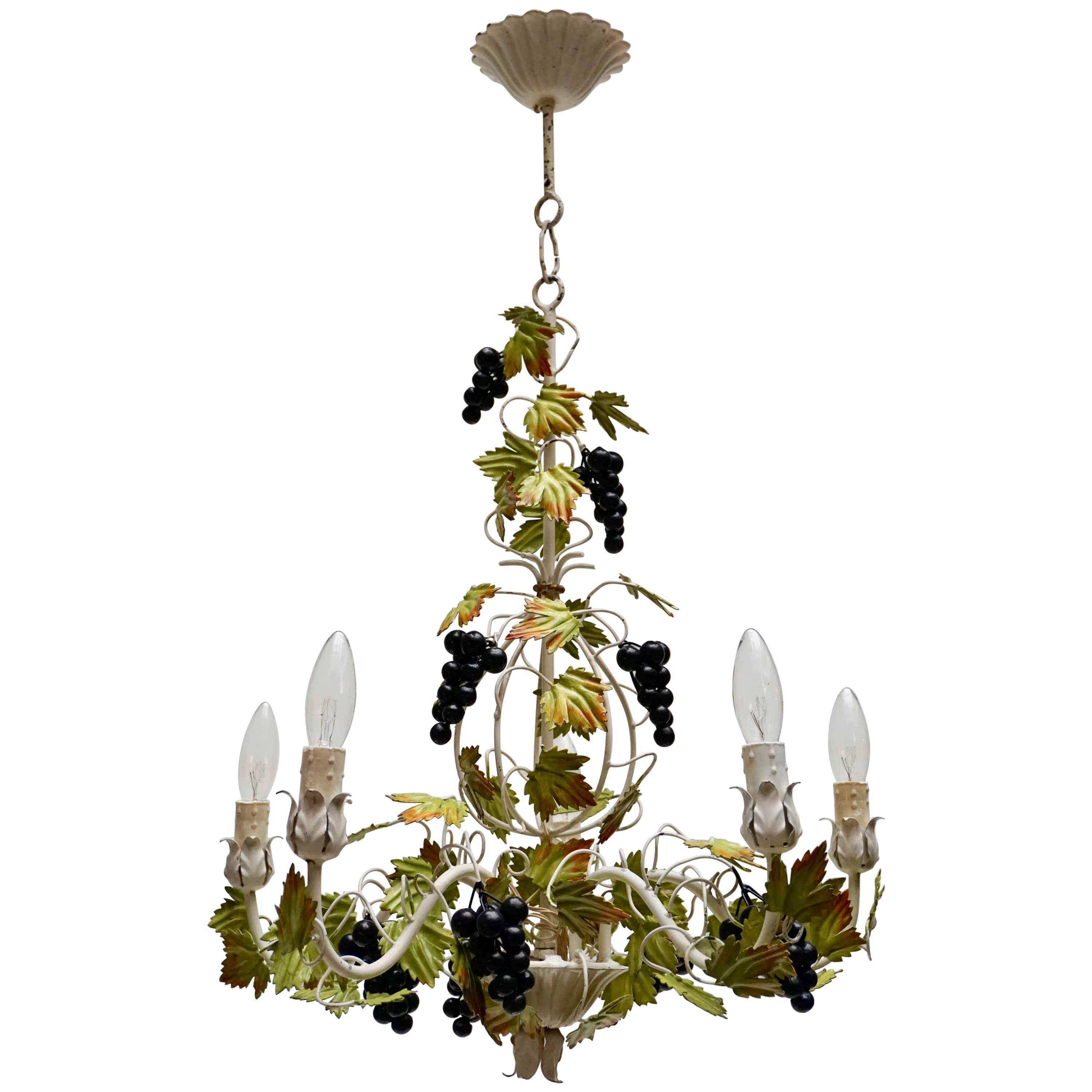 Metal Painted Chandelier with Bunches of Grapes