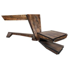 Italian-Made Two-Desk Set in 18th Century Pinus Cembra & Steel Sourced in Italy
