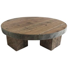 Round Rustic Modern Wood Low Coffee Table