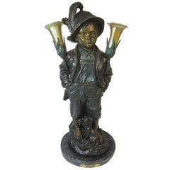 Alpine Boy, Haubner Bronze Table Lamp