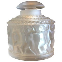 Frosted Crystal Cherub or Les Enfants Powder Jar by Lalique of France