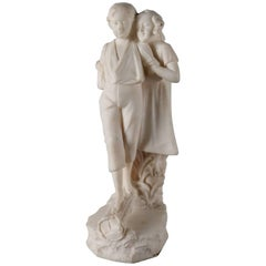 Antique Figural Carved Alabaster Sculpture of Courting Couple, 20th Century