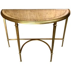 Modern Gilt Bronze and Eglomise Mirrored Console Table