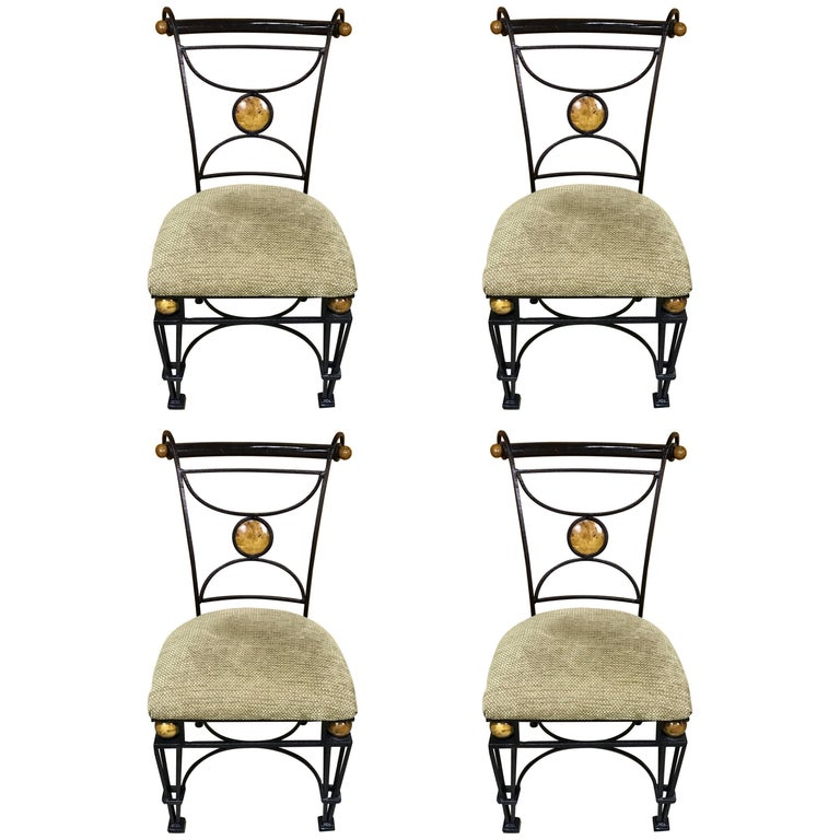 Four Neoclassical Maitland Smith Iron, Marble and Cocoanut Shell Chairs