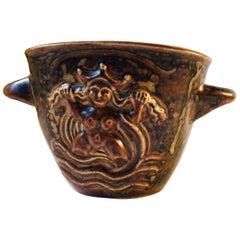 Danish Art Deco Stoneware Relief Vase by Bode Willumsen for Royal Copenhagen