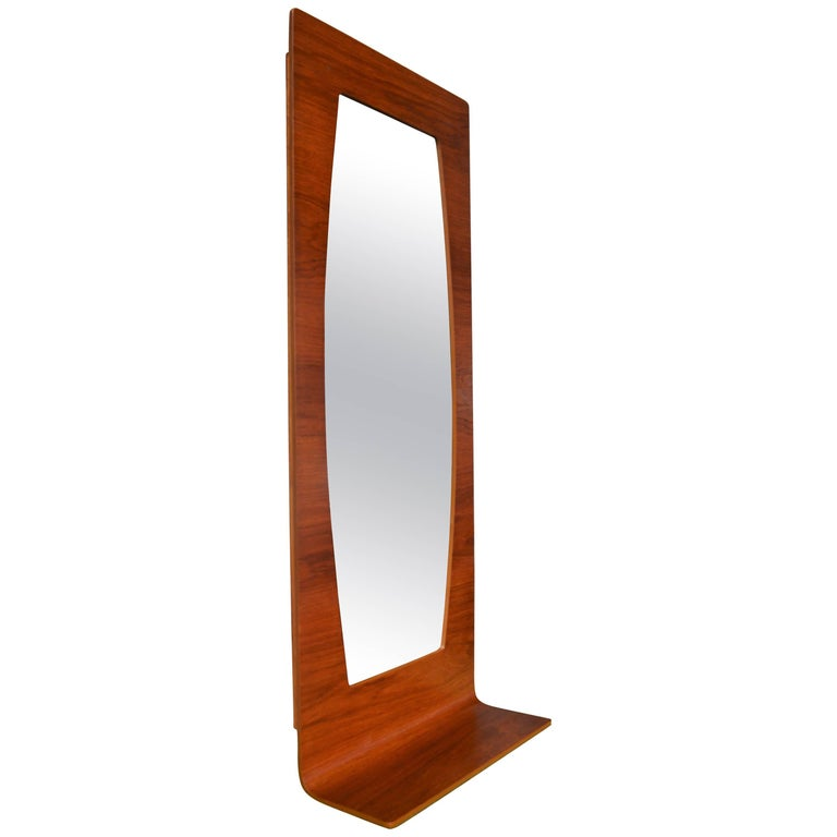 Large Danish Modern Teak Bent Ply Entry Mirror with Shelf