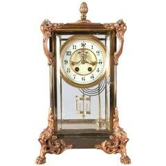 Antique French Style Gilbert Clock Co. Crystal Regulator Clock, 19th Century