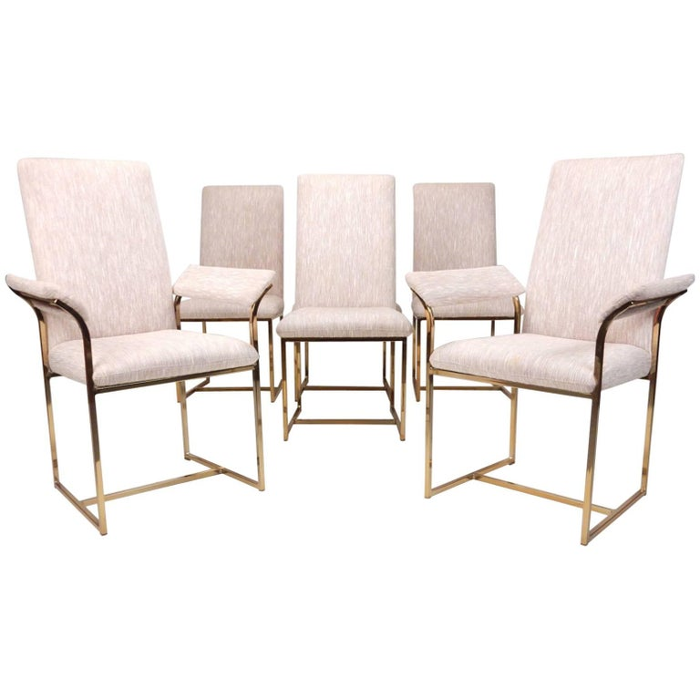 Architectural Brass Dining Chairs in the Style of Milo Baughman, Set of Six