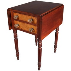 Antique Sheraton Tiger Maple and Cherry Two-Drawer Drop Leaf Stand, 19th Century