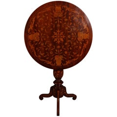 Antique Mahogany & Satinwood Floral Marquetry Inlaid Tilt-Top Table 19th Century