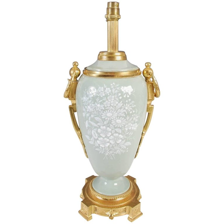 Antique French Ormolu-Mounted Pate-sur-pate Table Lamp, 19th Century