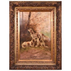 Antique Oil on Canvas Painting of Three Hunting Dogs by Paul Schouten