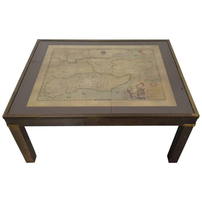 Vintage English Coffee Table With A Map Of Sussex At 1stdibs