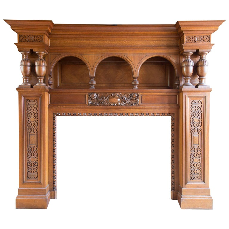Tall Massive Antique Oak Neoclassical Fireplace Surround/Mantel