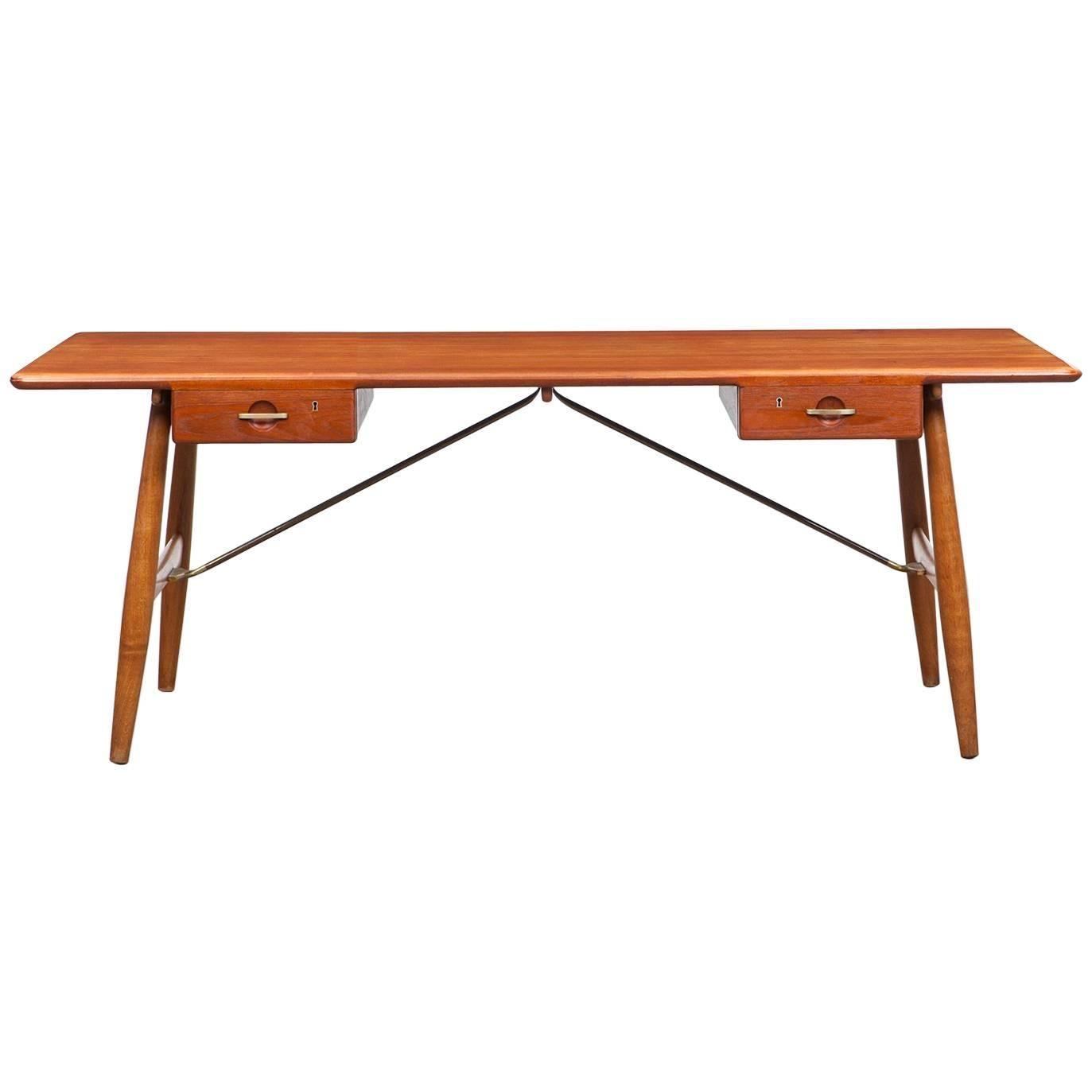 1950s Brown Teak Desk by Hans Wegner for Johannes Hansen