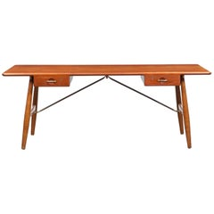 1950s Brown Teak Desk by Hans Wegner for Johannes Hansen