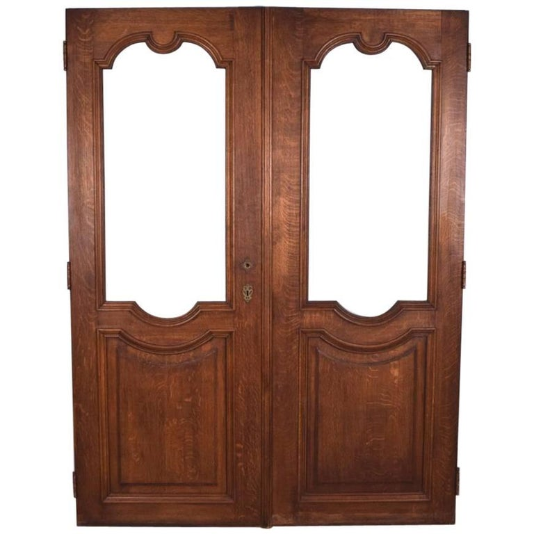 Pair of Antique French Oakwood Doors with Windows