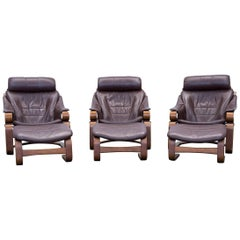 Skippers Furniture Designer Armchair Set Leather Brown One Seat Couch Modern