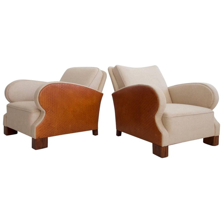 Pair of Art Deco Style Wool and Leather Upholstered Armchairs, circa 1930