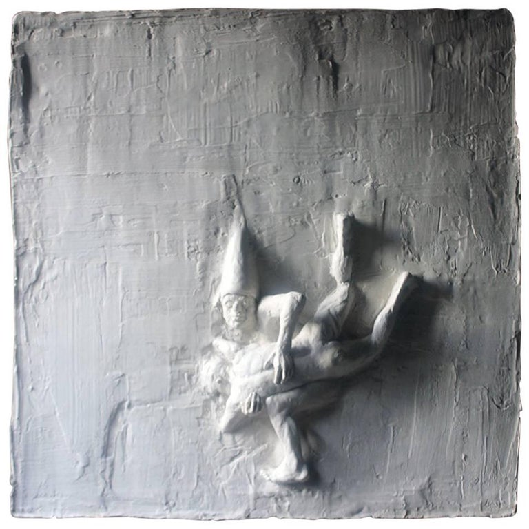 Beth Carter, Fighting Clowns I, Plaster Relief, Pre-Edition For Sale
